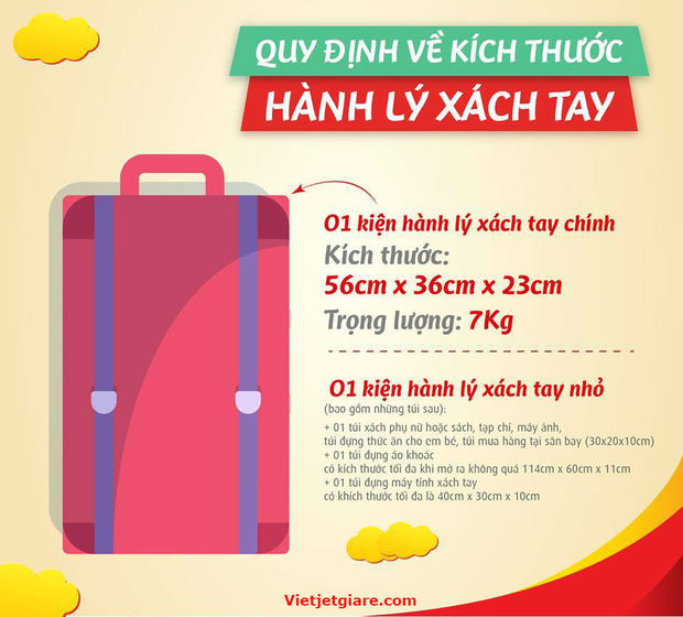 Quy định về hành lý xách tay của Vietjet Air