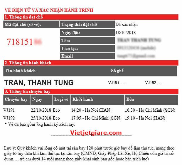 Hướng dẫn kiểm tra vé điện tử Vietjet