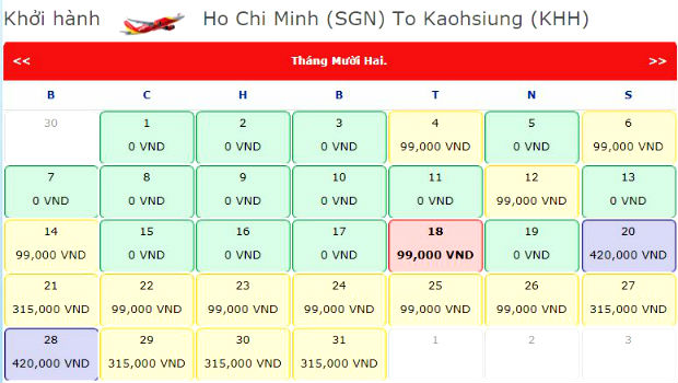 Bảng giá vé máy bay Vietjet tháng 12/2019