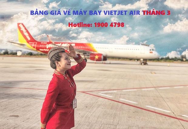 bảng giá vé máy bay Vietjet Air tháng 3